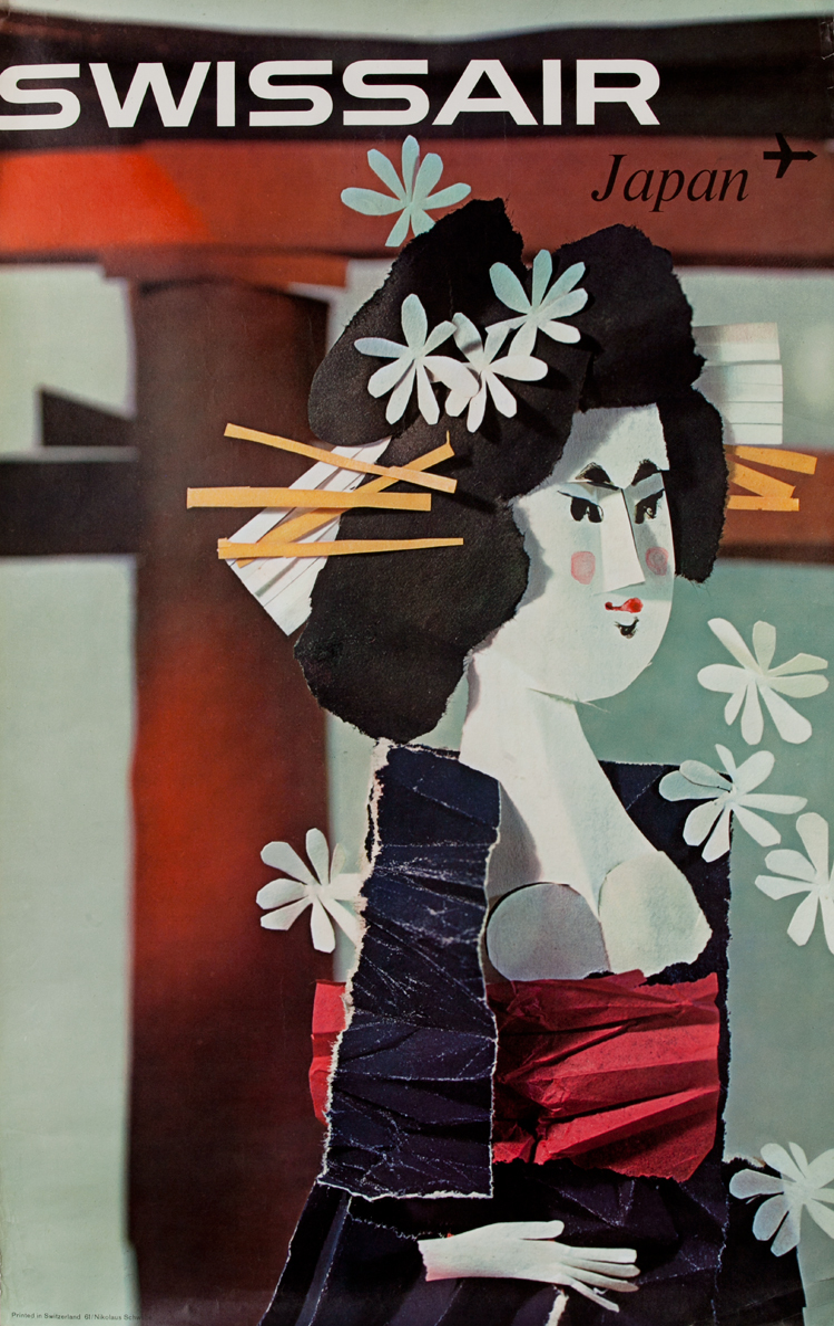 Swissair Japan Geisha Poster