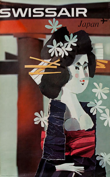 Swissair Japan Geisha Poster