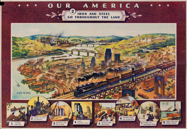 Our America Original Coke (Coca Cola) Educational Poster, Iron and Steel Go Throughout the Land