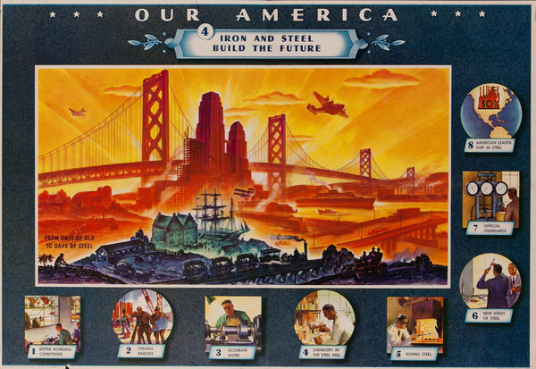 Our America Original Coke (Coca Cola) Educational Poster, Iron and Steel Build the Future