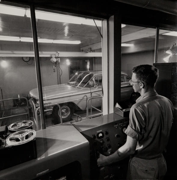 Dupont corporate communication photograph, Auto testing booth