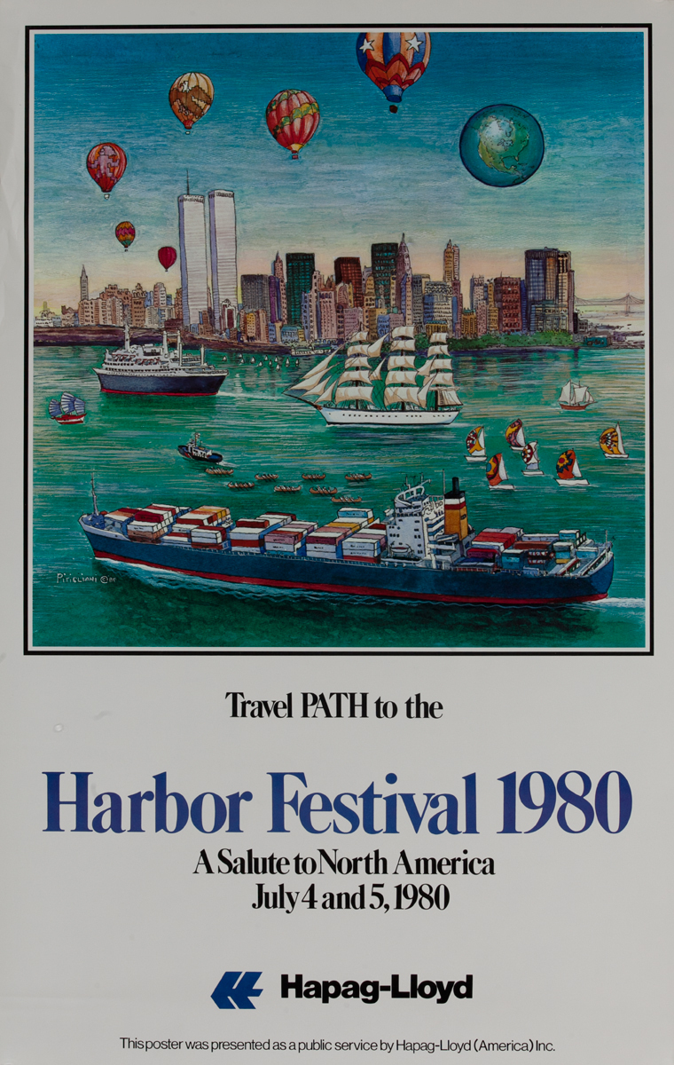 Travel PATH to the New York Harbor Festival 1980, Hapag-Lloyd Poster
