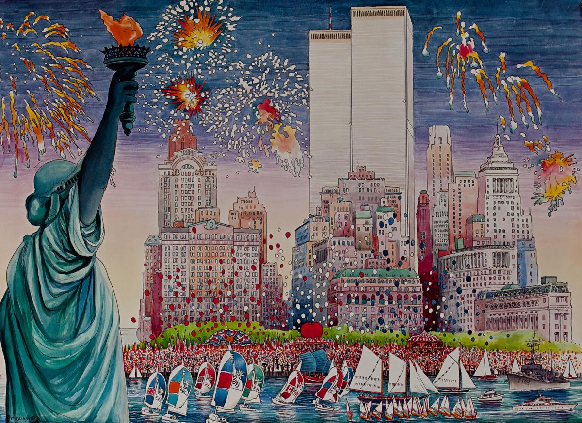 New York Harbor Fireworks Poster