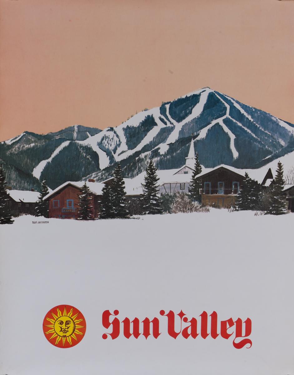 Sun Valley Ski Poster, Slopes at Dusk