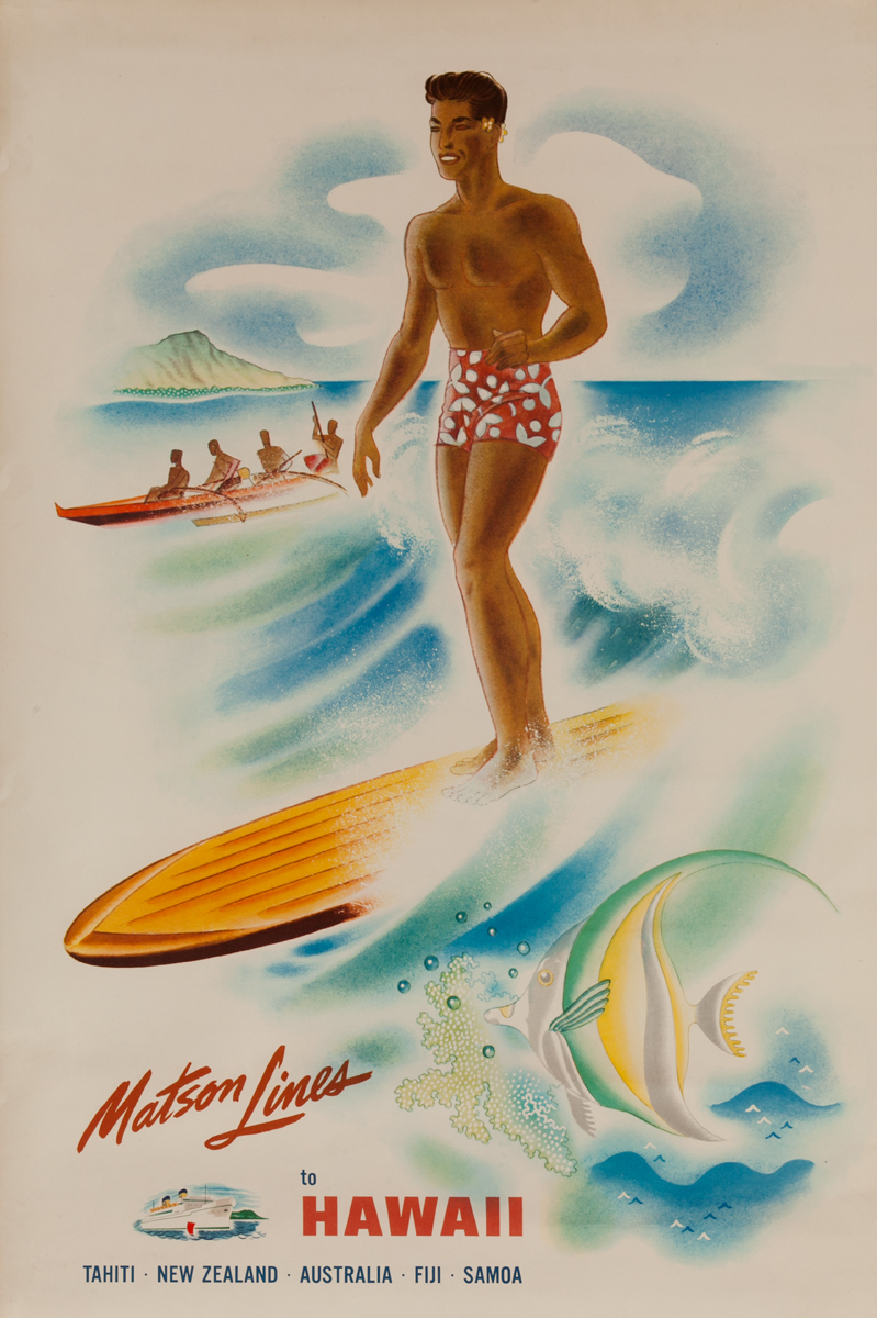 Matson Lines To Hawaii Tahiti New Zealand Australia Fiji Samoa Travel Poster Surfer