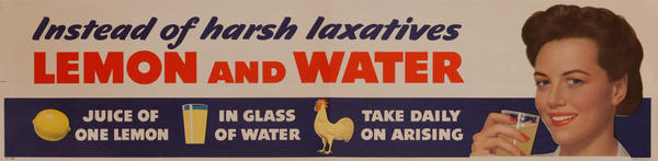 Instead of harsh Laxatives Lemon and Water Health Poster