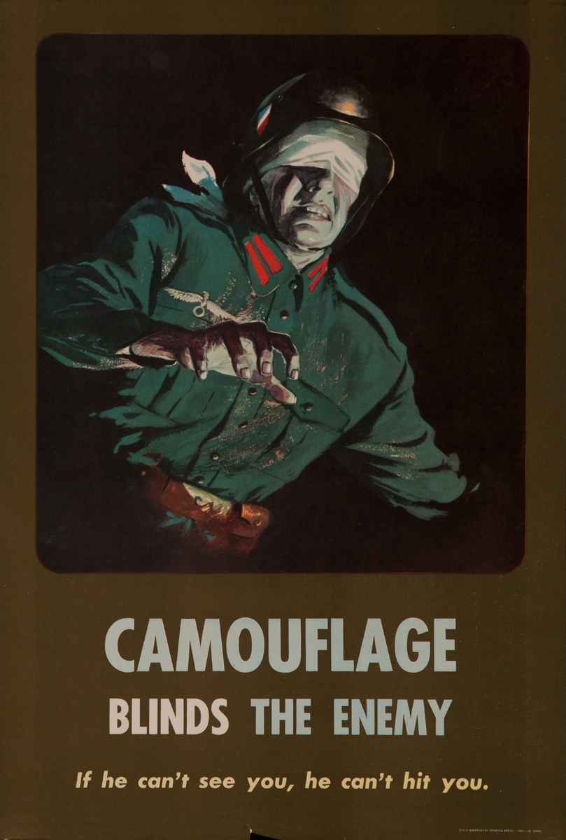 Camouflage Blinds the Enemy, Blindfolded German Soldier, WWII Training Poster