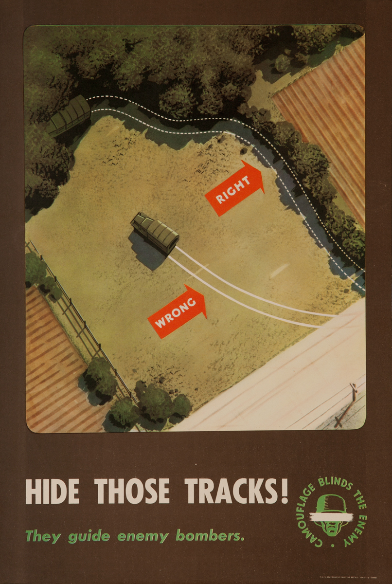 Camouflage Blinds the Enemy, Hide Those Tracks! They guide enemy Bombers. <br><br>WWII Training Poster