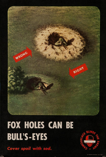 Camouflage Blinds the Enemy, Fox Holes can be Bull's-Eyes<br><br>WWII Training Poster