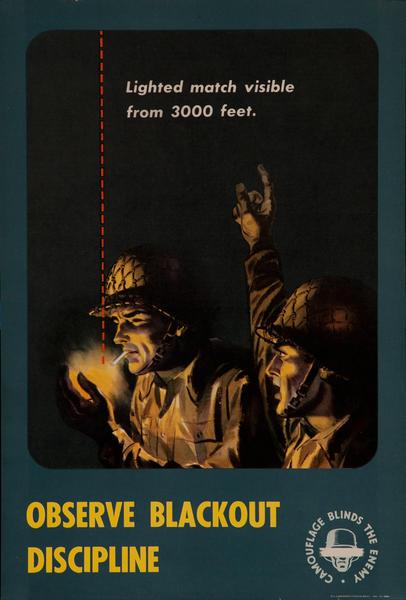 Camouflage Blinds the Enemy, Observe Blackout Discipline<br><br>WWII Training Poster