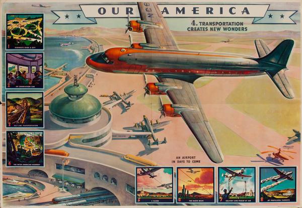 Our America Original Coke (Coca Cola) Educational Poster,  #4. Transportation Creates New Wonders