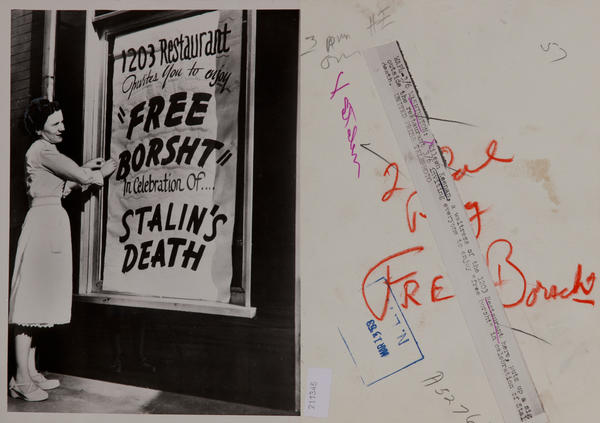 Free Borsht in Celebration of Stalin's Death. Original press photo