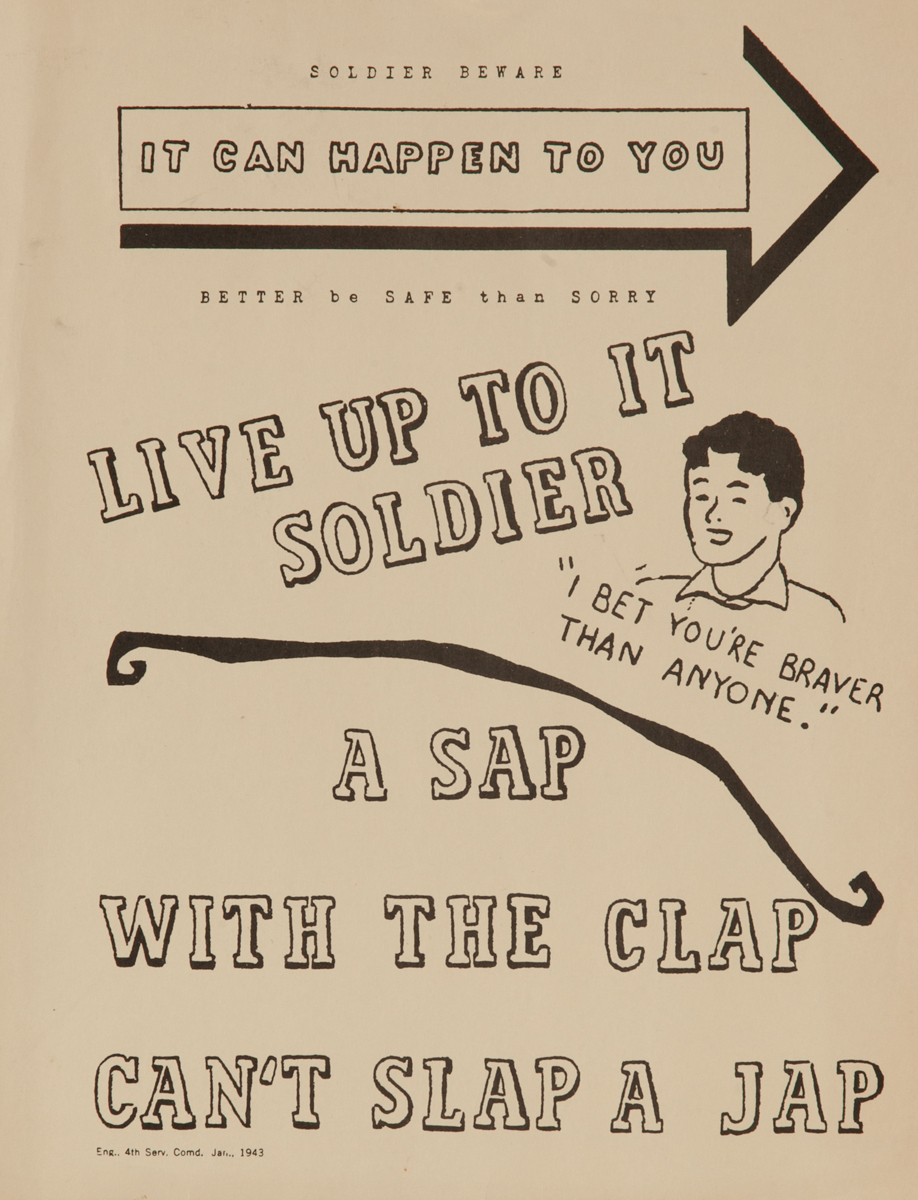 A Sap With the Clap Can't Slap A Jap, WWII Venereal Disease Poster