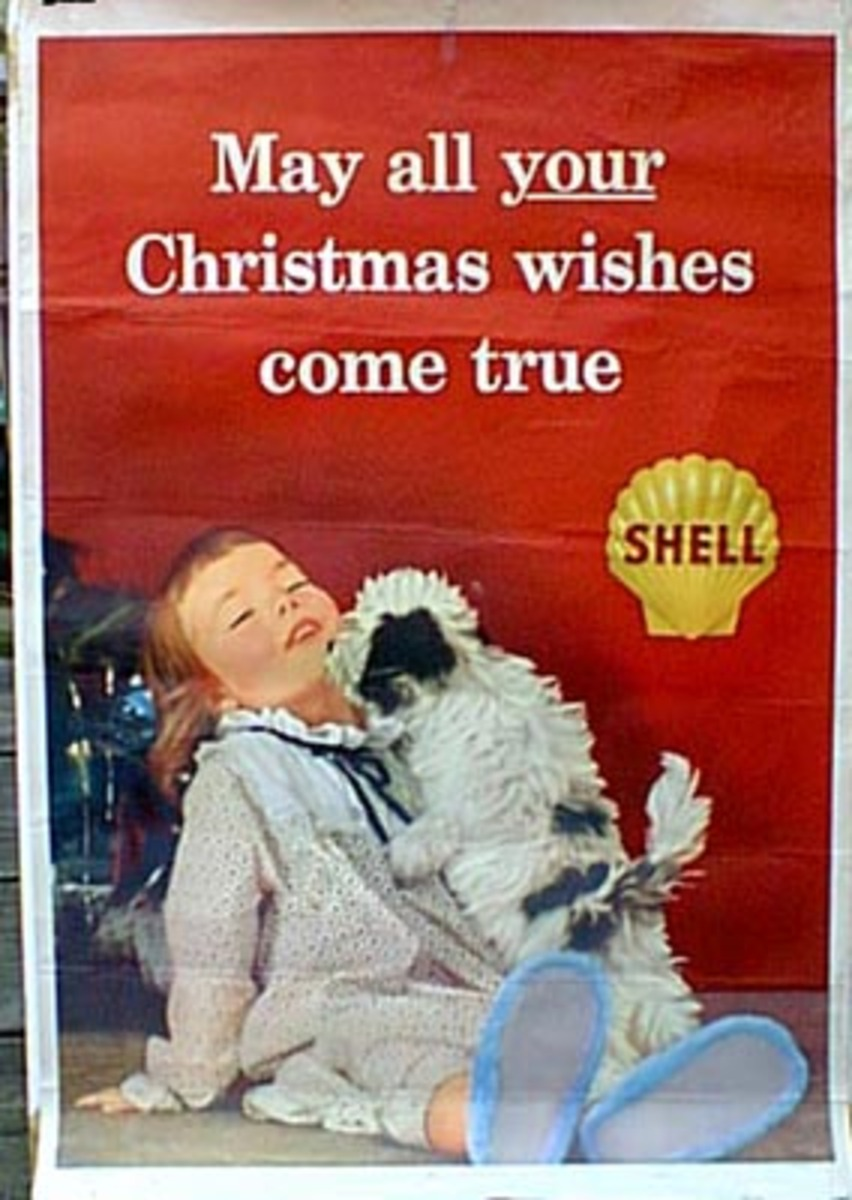 Original Vintage Shell Oil Advertising Poster Christmas Wishes