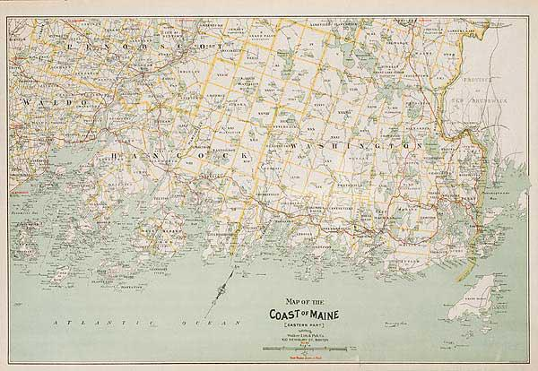 Map of the Coast of Eastern Maine Original Vintage Map