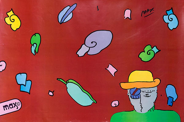 Original Peter Max Poster Guy With Hat