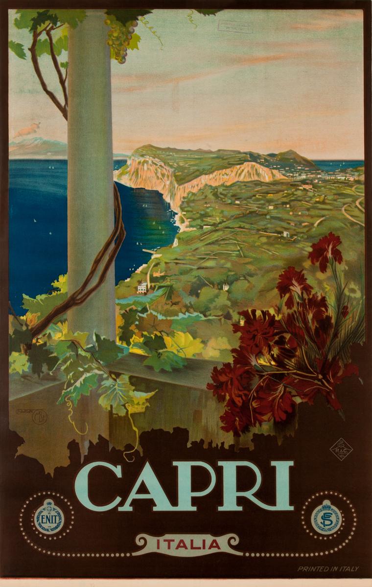 Capri Italia ENIT Italian Rail Poster