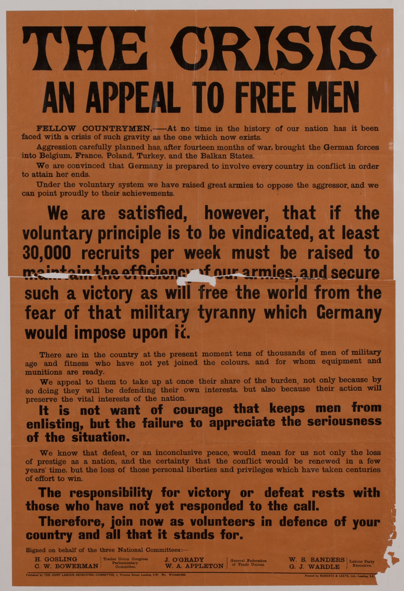 The Crisis an Appeal to Free Men, British WWI Poster