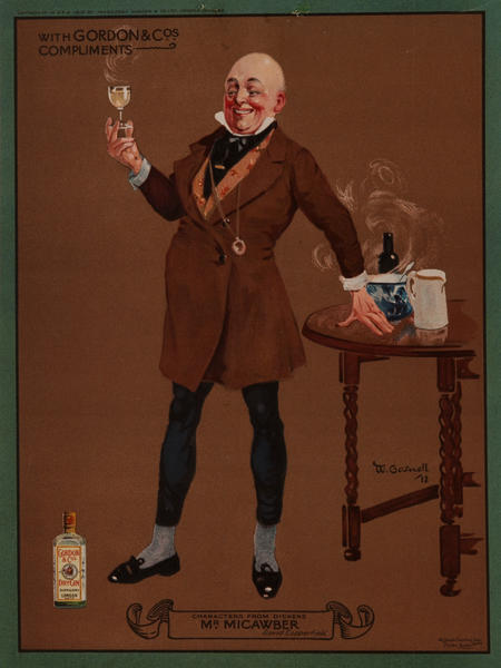 Gordon Gin, Charles Dicken's Character Mr. Micawber, Advertising Poster