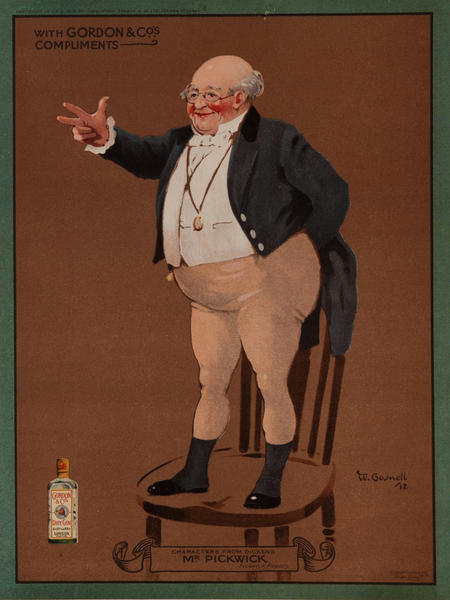 Gordon Gin, Charles Dicken's Character Mrs. Gamp, Advertising Poster