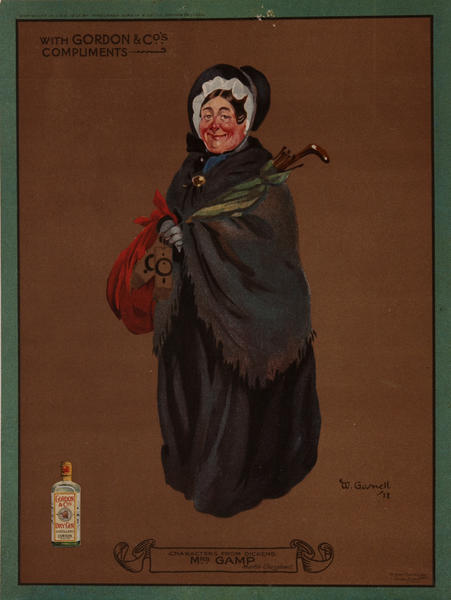 Gordon Gin, Charles Dicken's Character Mr. Piackwick, Advertising Poster