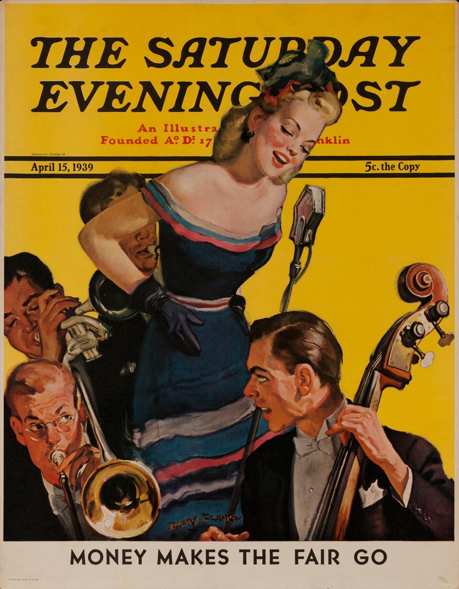 Saturday Evening Post Advertising Poster, April 15, 1939, Jazz quartet with singer