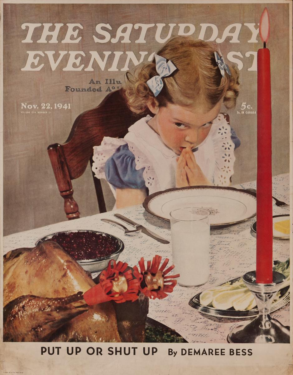 Saturday Evening Post Advertising Poster, Nov. 22, 1941, Thanksgiving Turkey