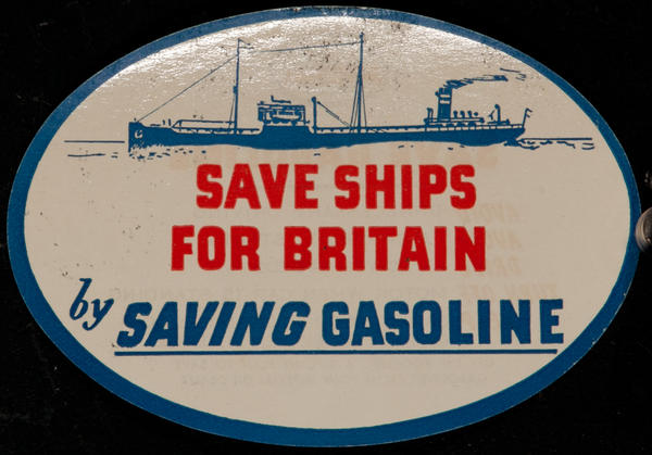 Save Ships for Britain by Saving Gasoline,  Original WWII Label