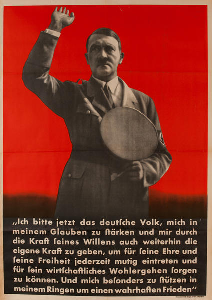 Ich bitte jetzt das deutsch Volk - I now call the German people<br><br>pre-WWII German Nazi Party Poster