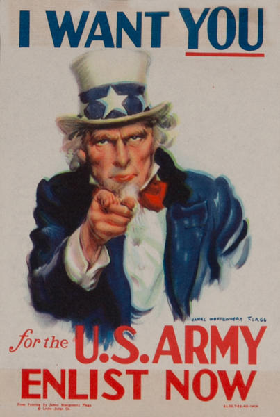 I Want You, for the U.S. Army, Enlist Now, WWII Label