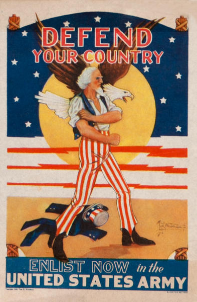 Defend Your Country, Enlist Now in the United States Army, Prince Edward Island Travel Bureau, WWII Label
