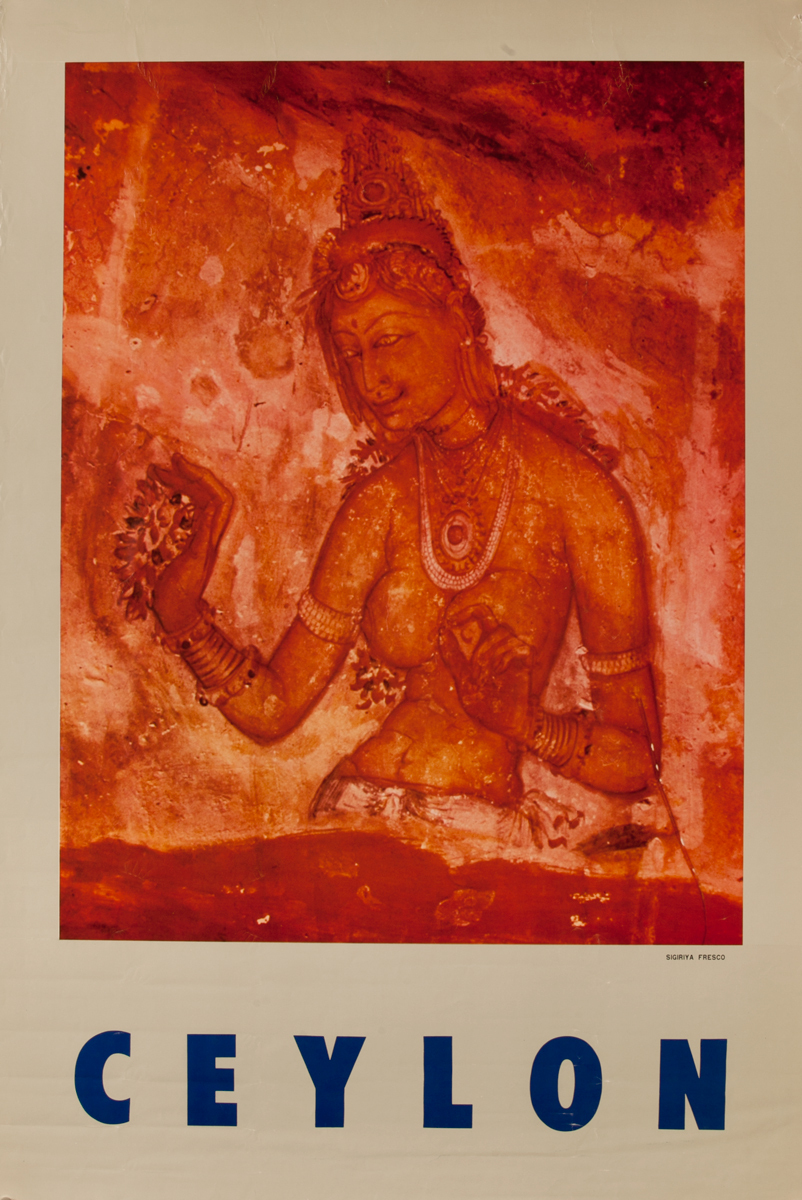 Sigiriya Fresco Ceylon Sri Lanka Travel Poster,
