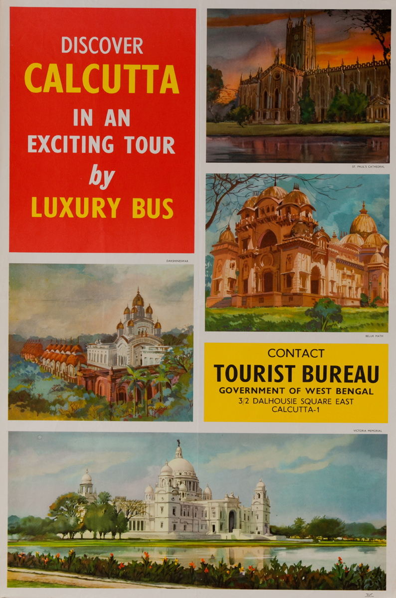 Discover Calcutta in an Exciting tour by Luxury Bus<br>India Travel Poster