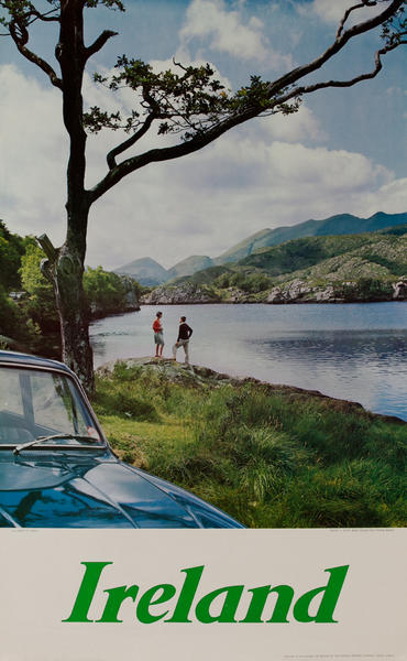Ireland Travel Poster, couple by the side of a lake