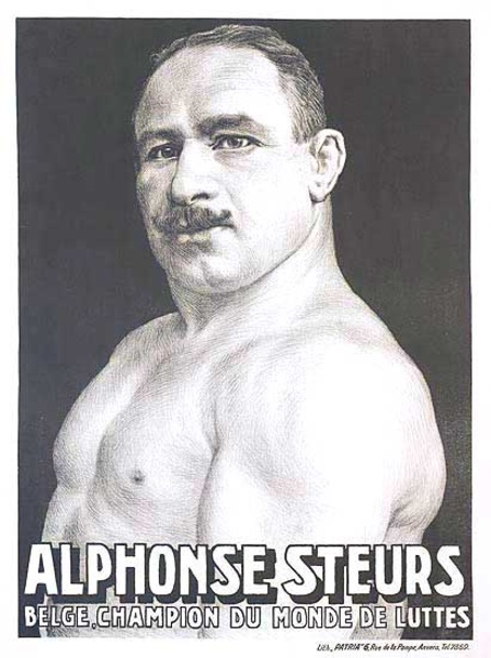 Alphonse Steurs Belgian World Champion Wrestler Original Vintage Poster