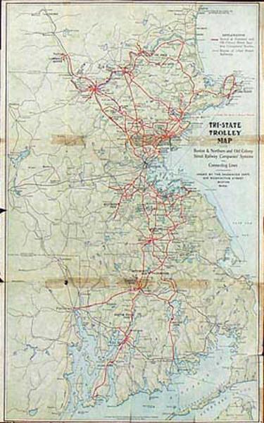 Tri State Trolly Map Original Railway Map Boston trolley System