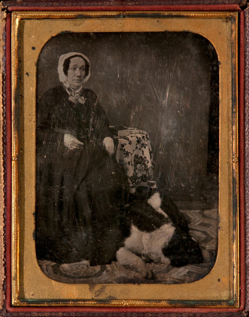 1/2 Plate Daguerreotype Woman with HUGE Dog