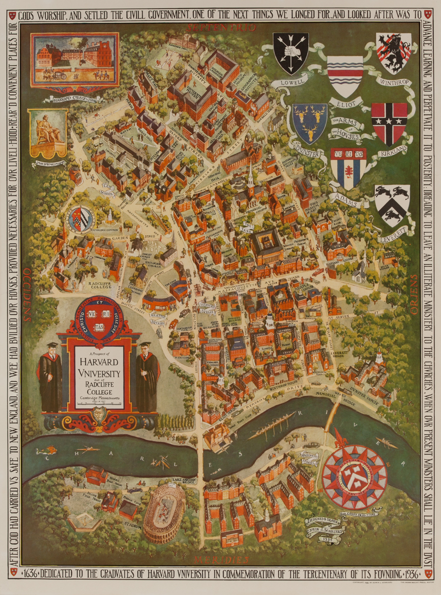 A Prospect of Harvard University and of Radcliff College<br>Souvenir Map Poster