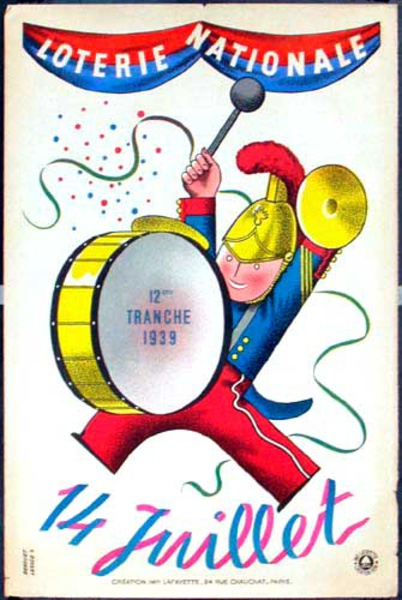 French Loterie Nationale Original Vintage Poster 14 Juillet  (July 14)