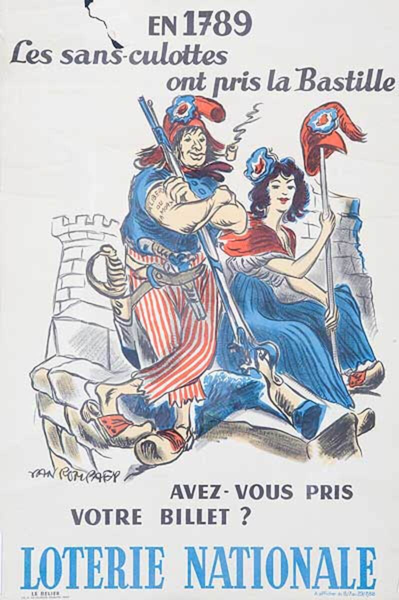 Those Without Clothes Took The Bastille Original French Loterie Poster