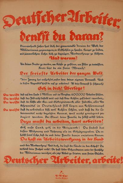 Deutscher Urbeiter benfit du daran?<br>German World War I Poster