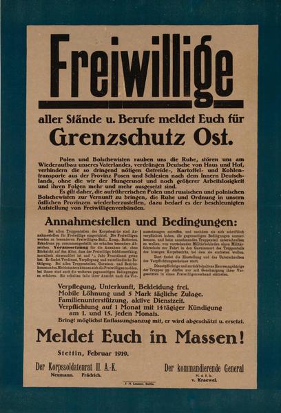 freiwillige aller Stände und Berufe meldet euch für Grenzschultz Ost - Meldet Euch in Massen!<br>German World War I Poster