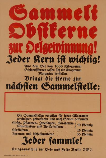 Sammelt Destferne zur Delgeiwinnung<br>German World War I Poster