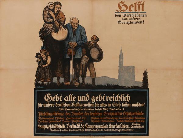 Helft den Vertriebenen aus unseren Grenzlanden<br>German World War I Poster