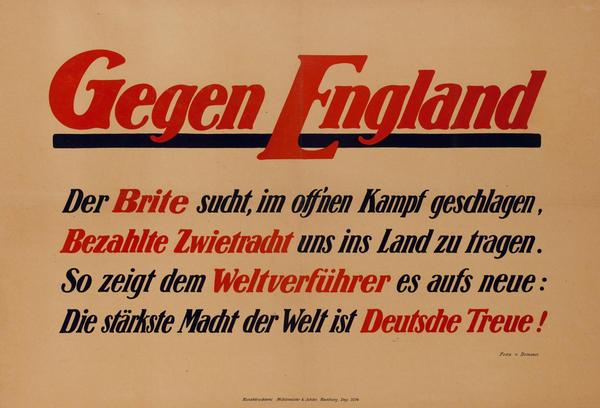 Gegen England- Against England<br>German World War I Poster