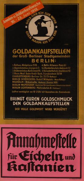 Goldankaufstellen Berlin<br>German World War I Poster