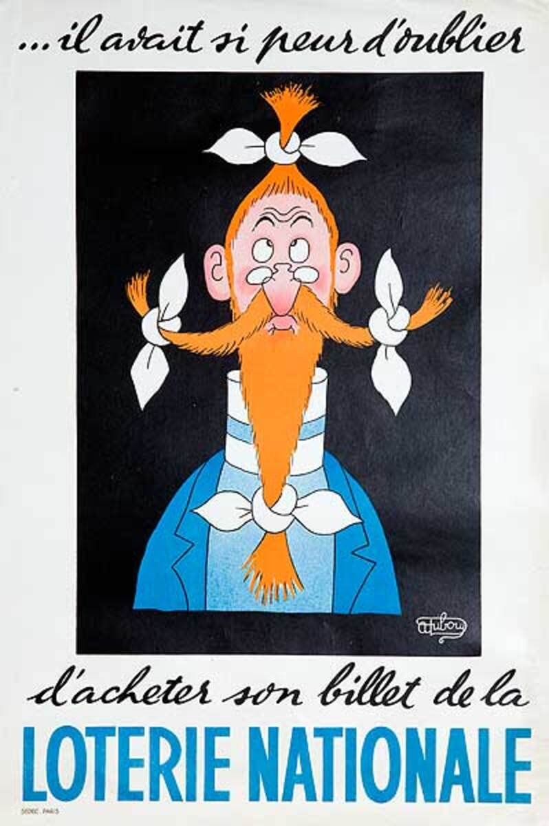 I Was Afraid I Would Forget Original French Loterie Poster