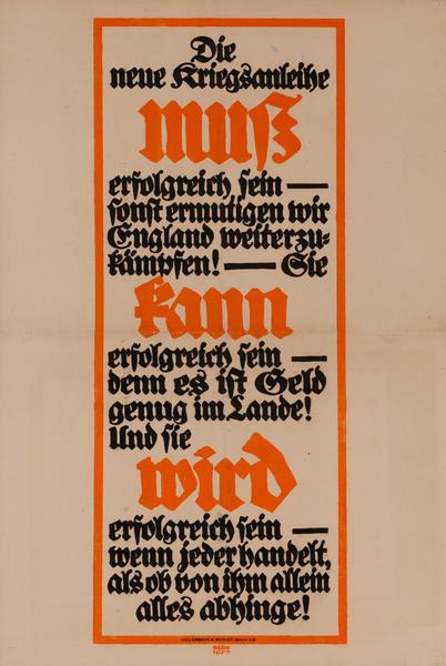 Die neue Kriegsanleihe<br>German World War I Poster