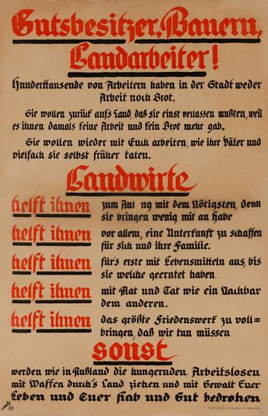 Gutsbesitzer, Bauern, Landarbeiter!<br>German World War I Poster