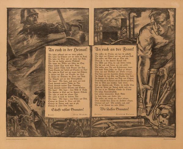 An Euch in der Heimat! An Euch an der Front! <br>German World War I Poster